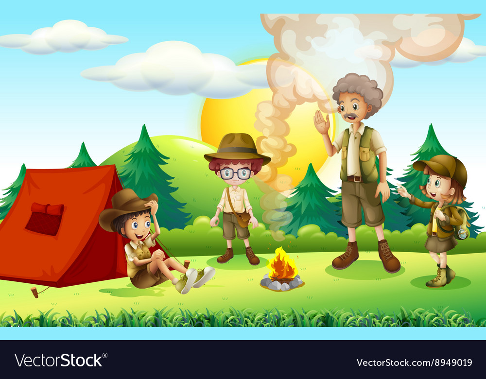 People camping in the field vector image