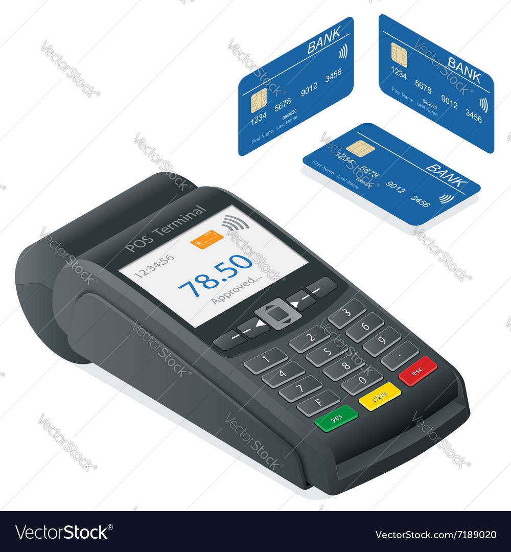 Credit card terminal on a white background Vector Image