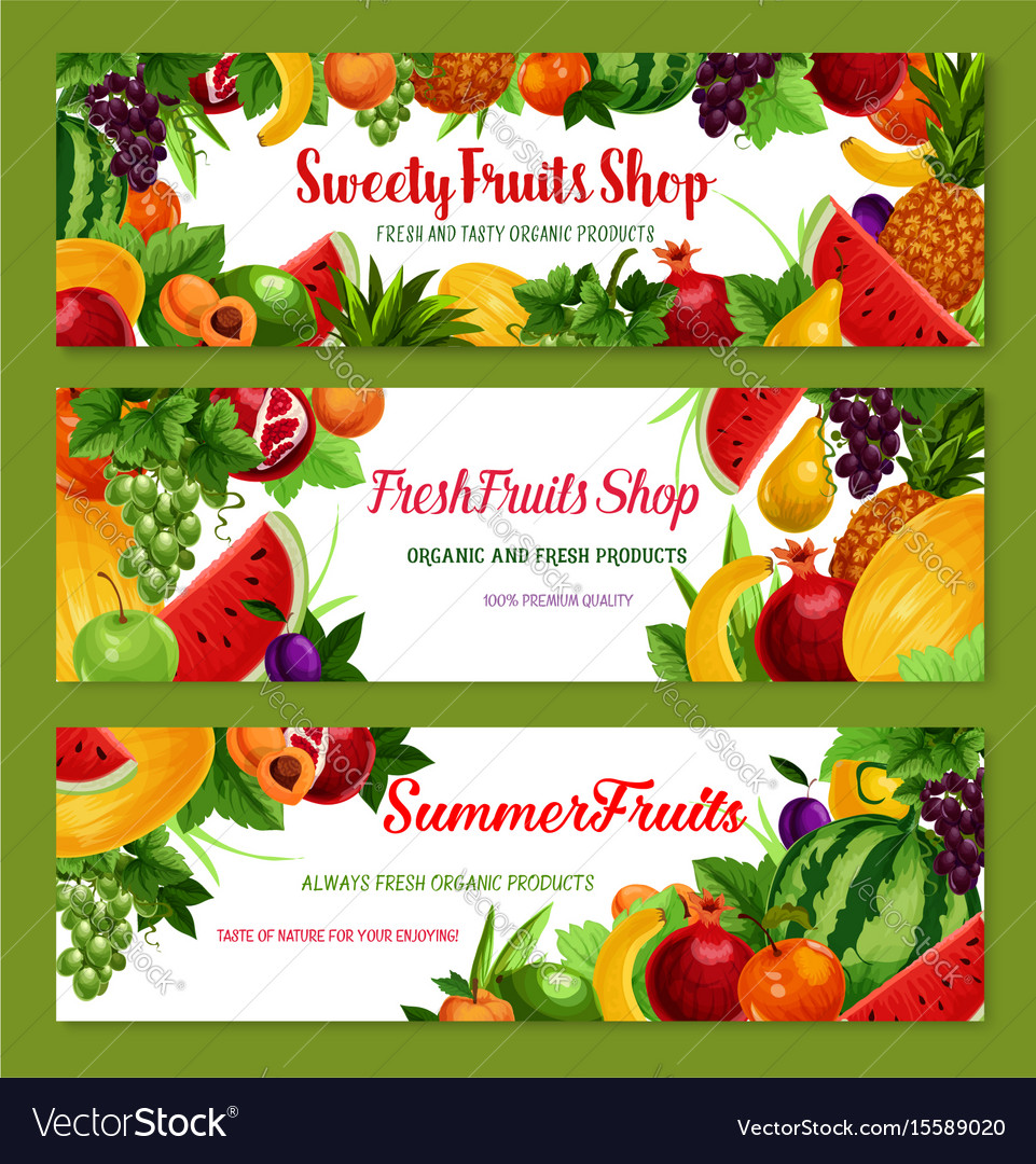 Fruit shop banners of fresh natural fruits vector image