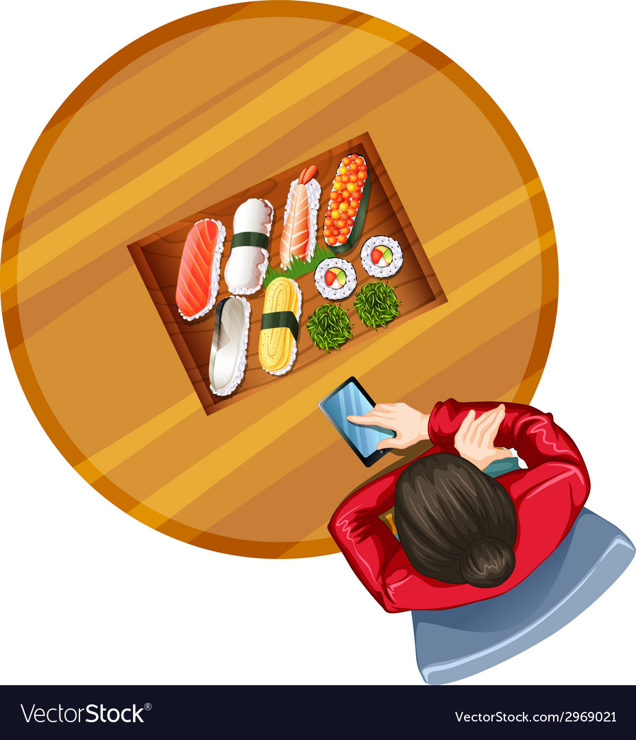 A topview of a girl at the table with sushi vector image