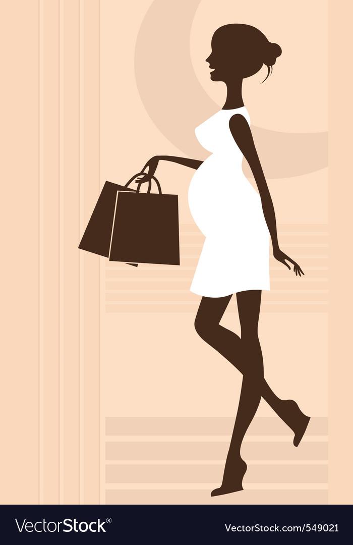 Elegant pregnant woman vector image