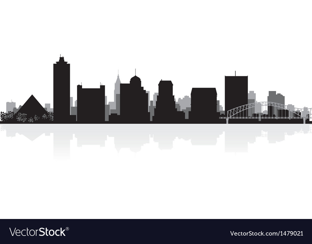 Memphis USA city skyline silhouette vector image