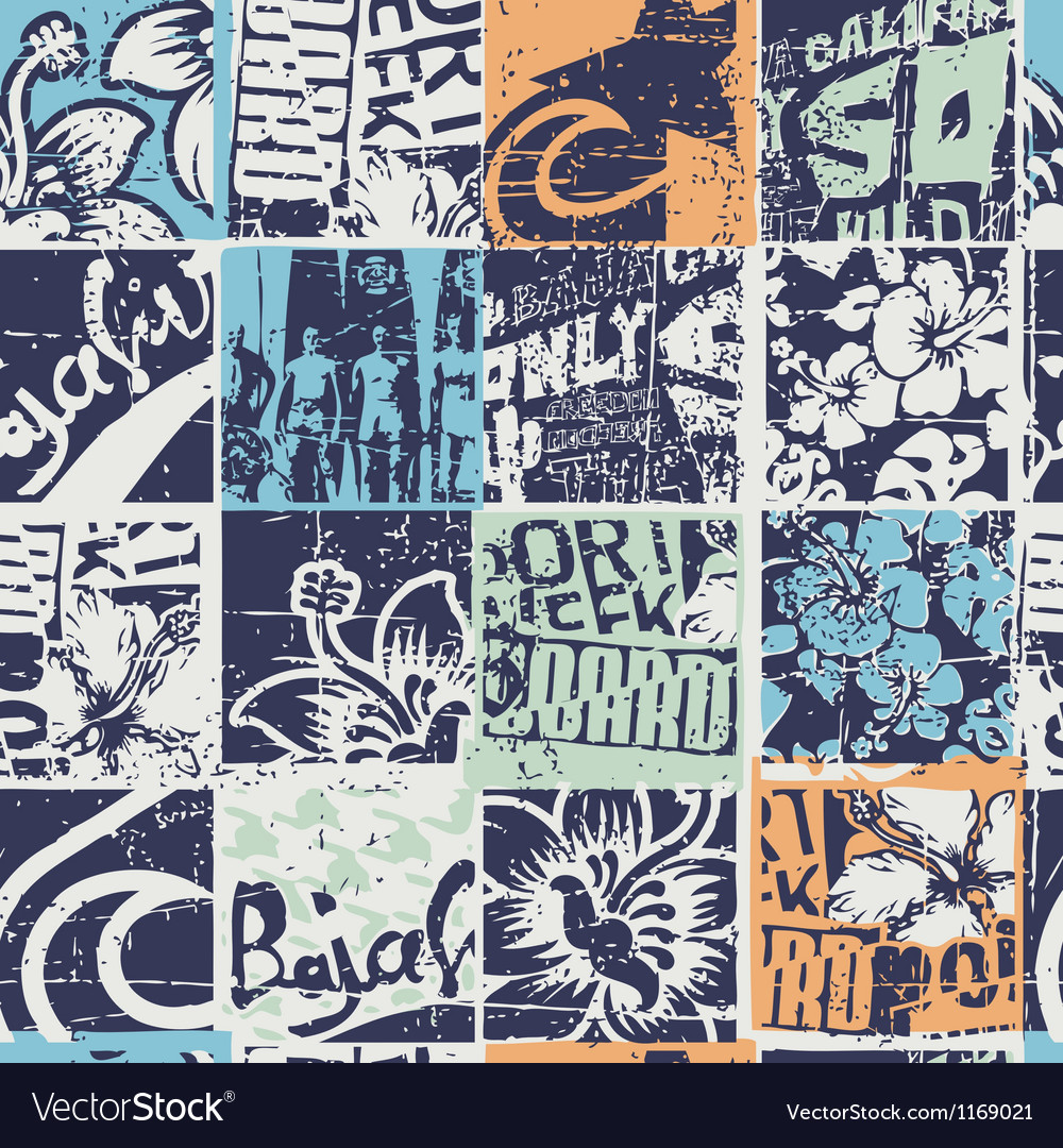 Surfing patchwork vector image