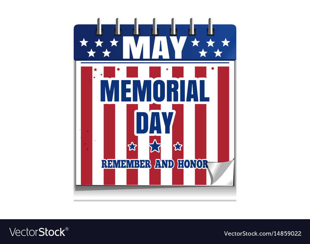 Memorial day calendar vector image