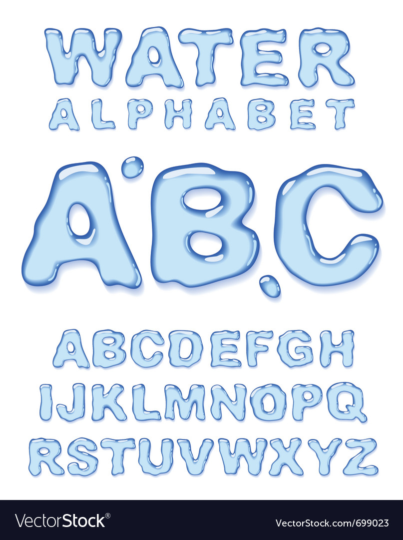 Water alphabet letters set vector image