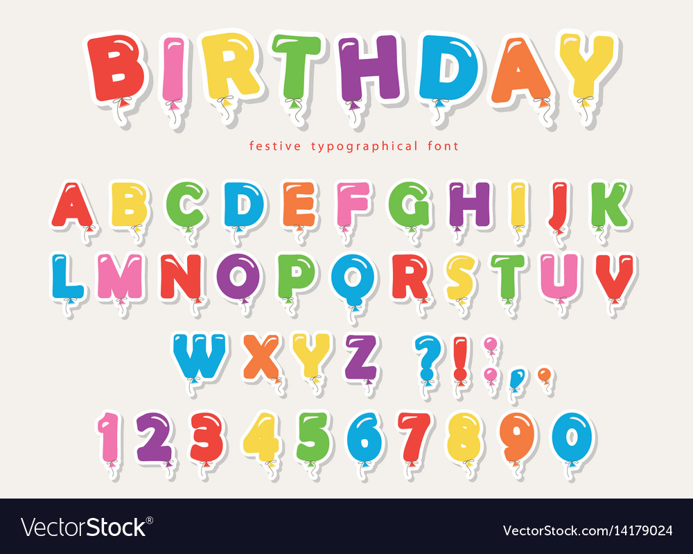 Balloon colorful font paper cutout funny abc vector image