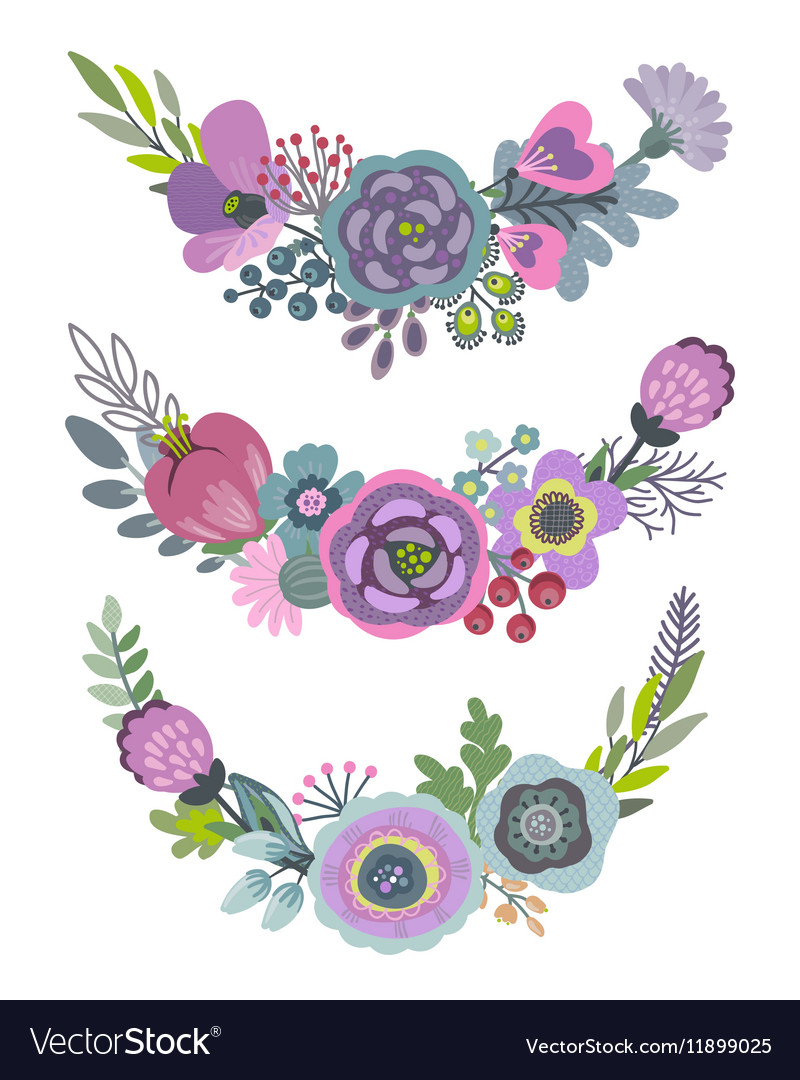 Graphic set with beautiful floral wreaths vector image