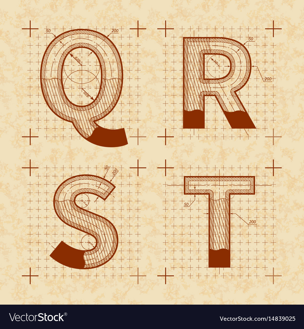 Medieval inventor sketches of q r s t letters vector image