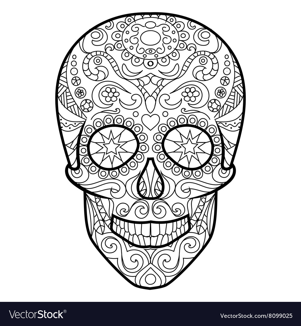skull coloring book for adults vector image - Skull Coloring Book