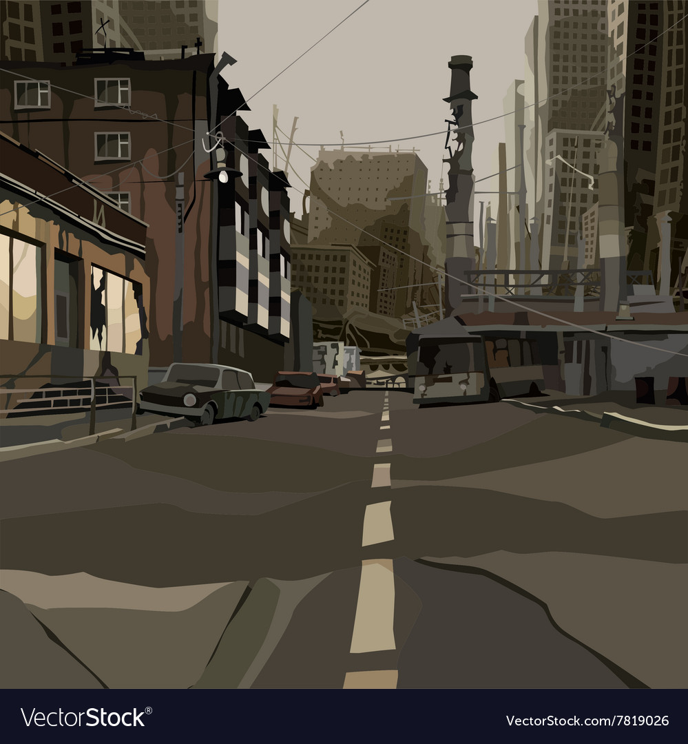 Cartoon street of the ruined city Royalty Free Vector Image