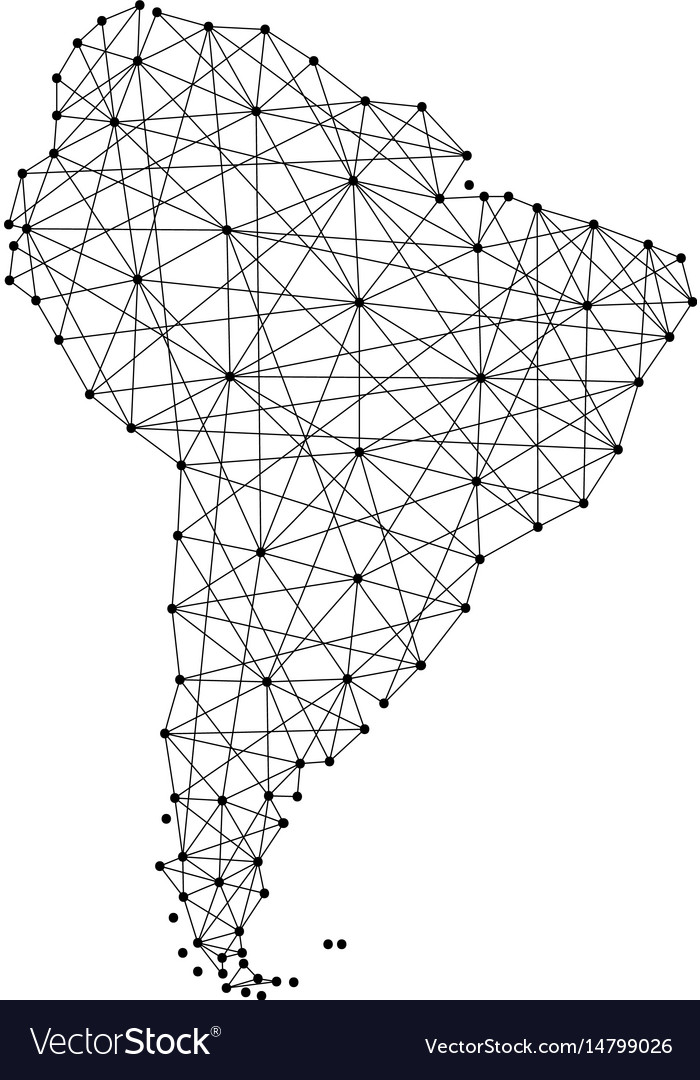 Map of south america from polygonal black lines vector image