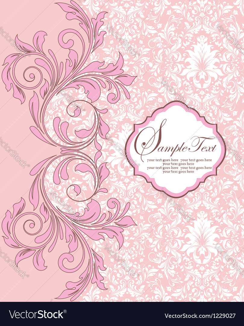 Pink damask background vector image