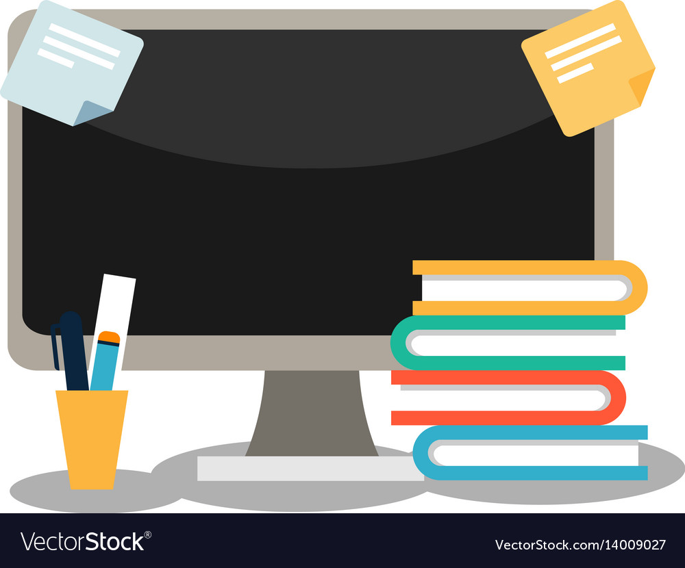 A computer with books and stationery vector image