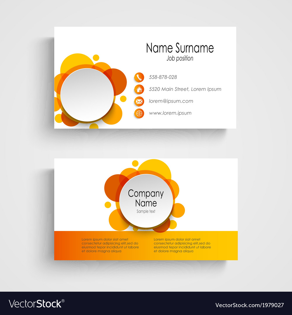Modern Orange Round Business Card Template Vector Image - Round business card template