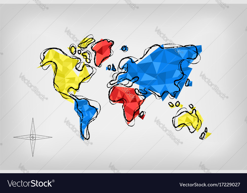 World map low poly art doodle concept royalty free vector world map low poly art doodle concept vector image gumiabroncs Images