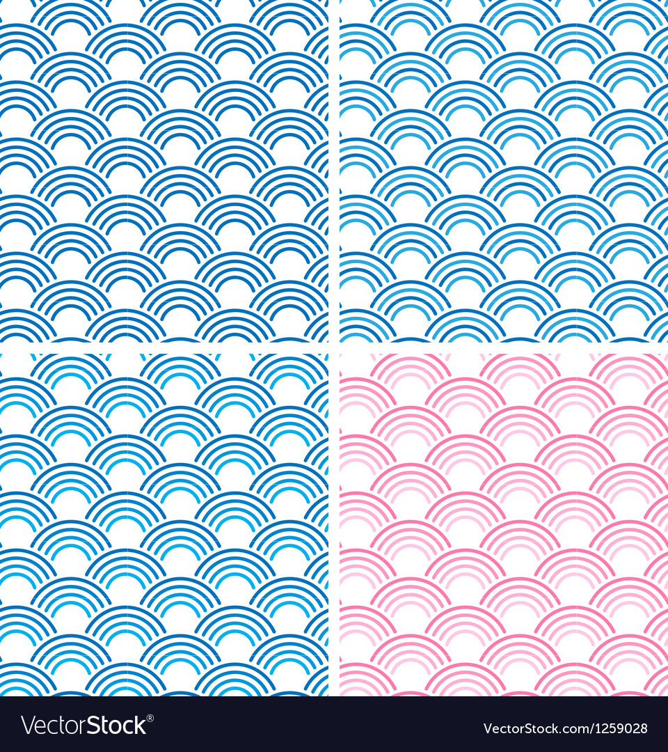 Japanese Seamless Pattern Set eps10 vector image