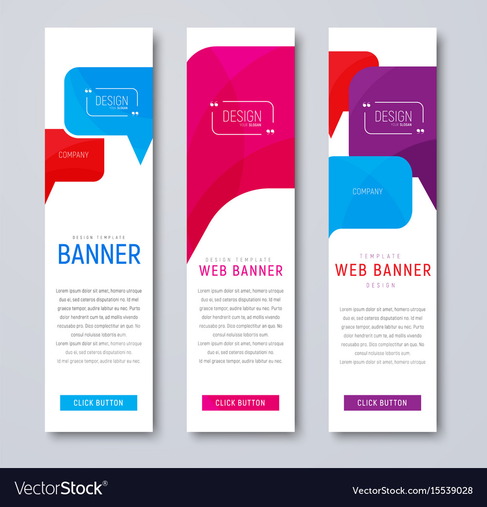 Set of web banners with colored bubbles talking vector image