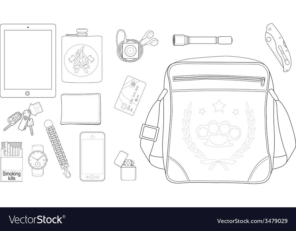 Every day carry man items set2 Line-art vector image