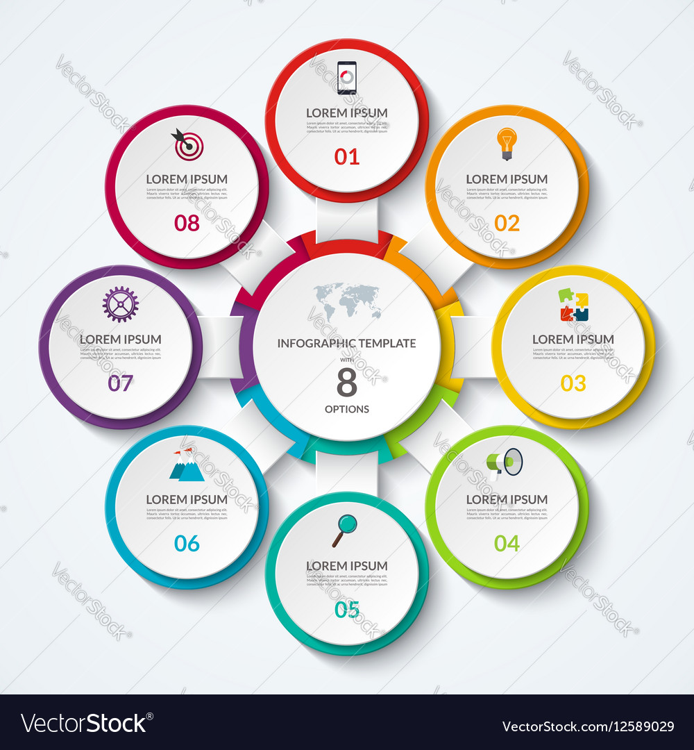 Infographic diagram with 8 options vector image
