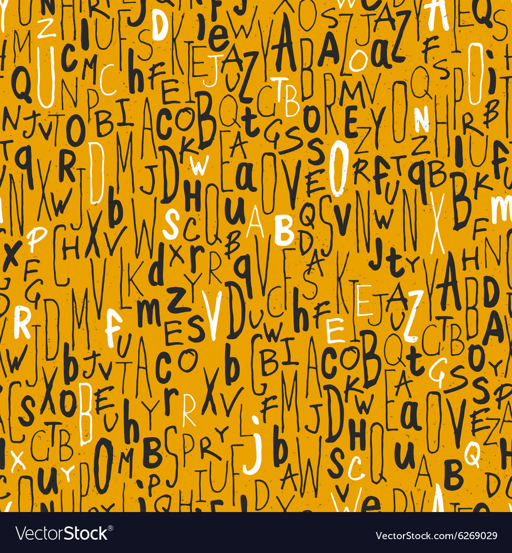Seamless different letters pattern yellow vector image