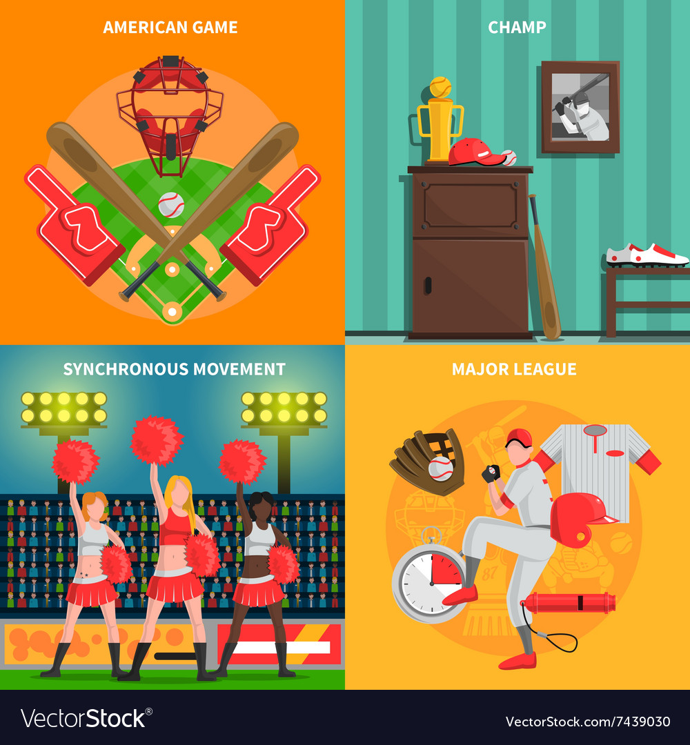 Baseball concept set vector image