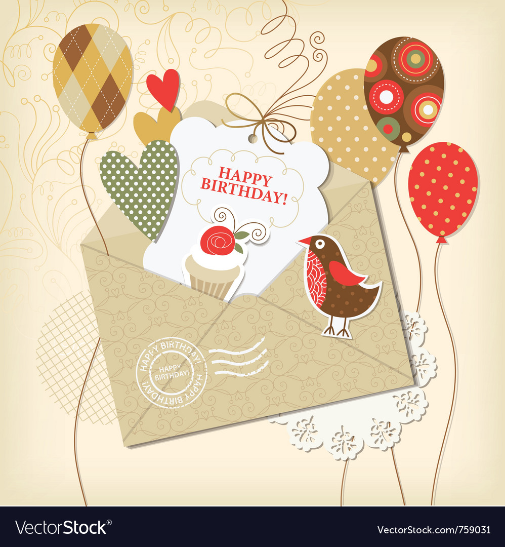 Birthday card and scrapbooking elements vector image