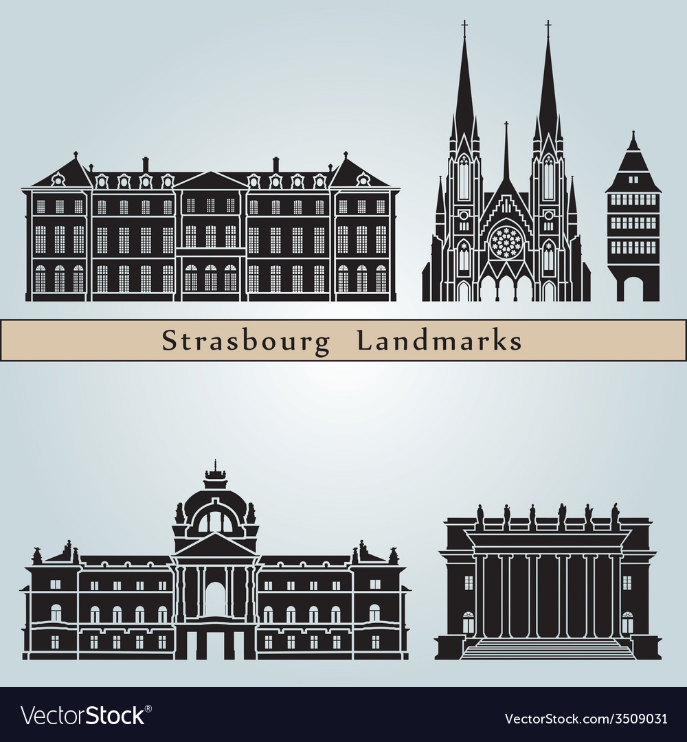 strasbourg landmarks and monuments royalty free vector image. Black Bedroom Furniture Sets. Home Design Ideas