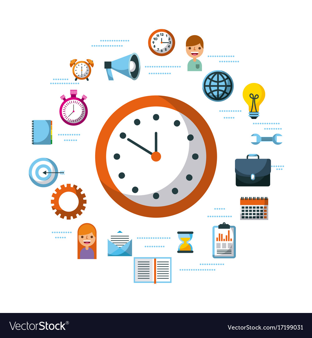 Time management planning time organization of vector image