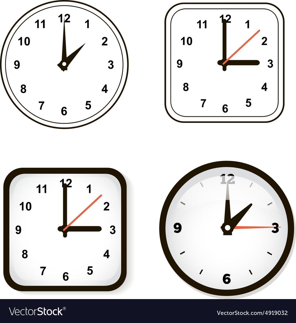 Set of wall clock Watch and circle vector image