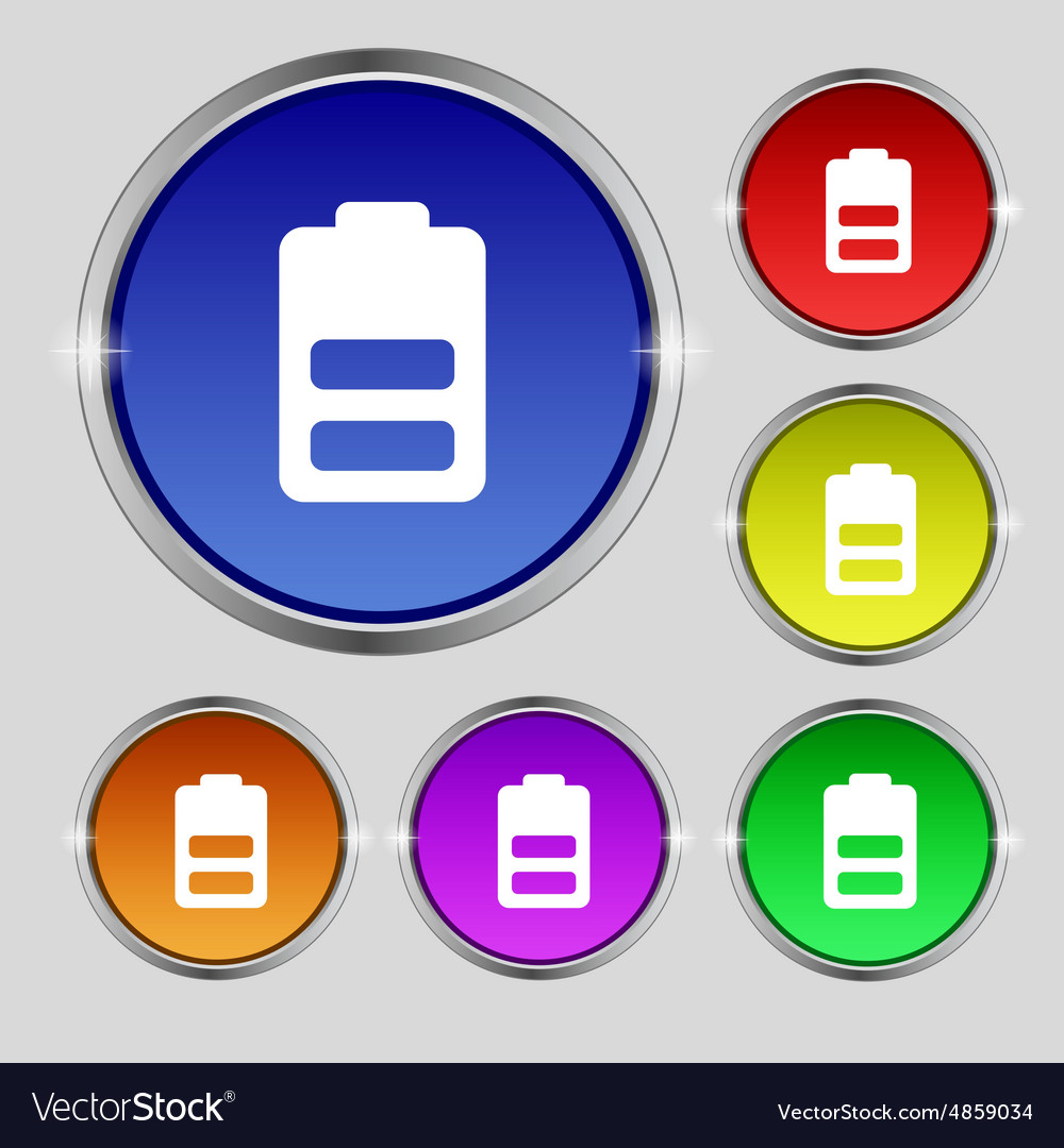 Battery half level Low electricity icon sign Round vector image