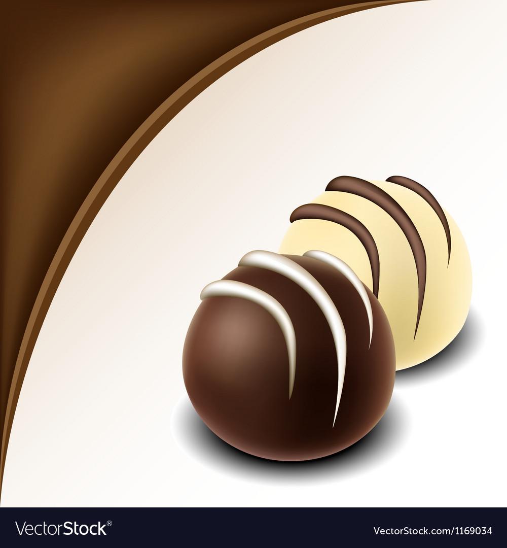 Chocolate text frame with chocolate bonbon vector image