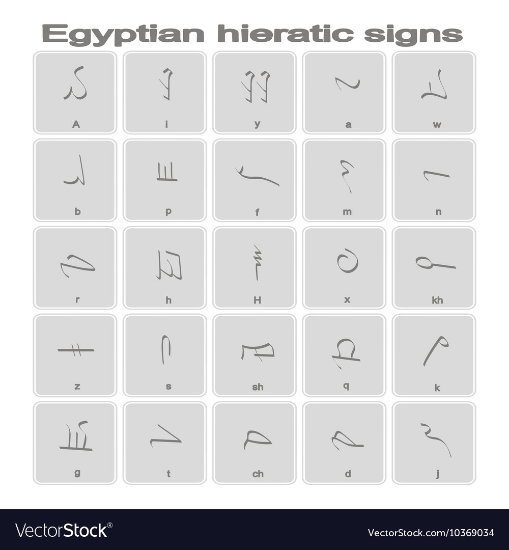 Icons with egyptian hieratic signs for your design vector image