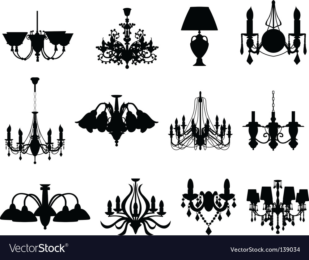 Set of lamps silhouettes vector image