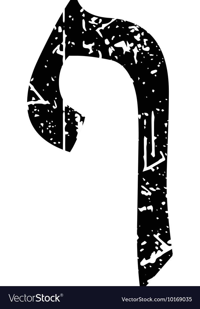 Hebrew letter Pei Shabby black font The Hebrew vector image