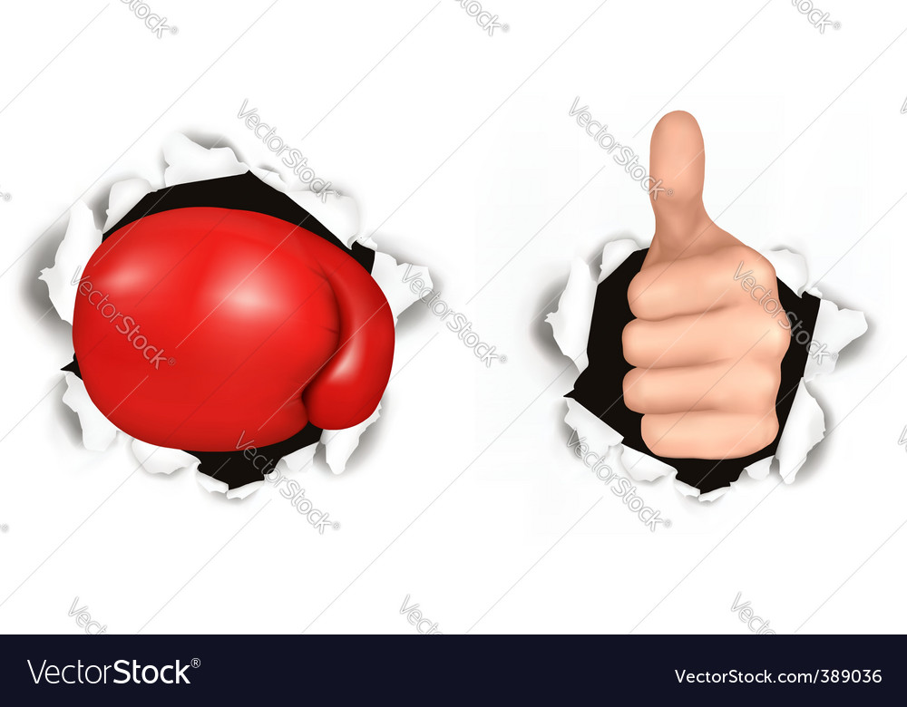 Boxed and hand vector image