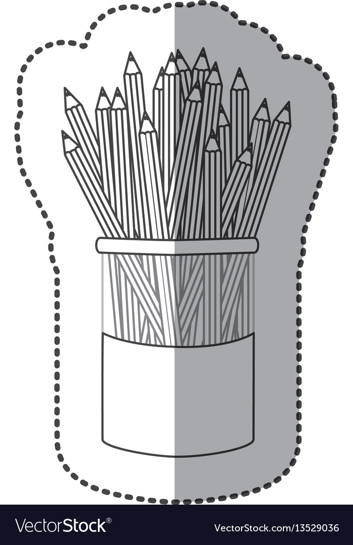 Silhouette pencils color inside the butter jar vector image