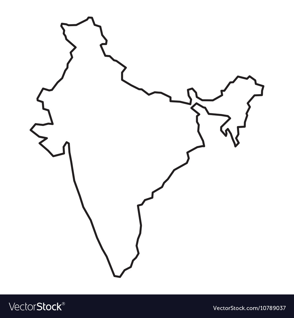 Black Contour Map Of India Royalty Free Vector Image - India map vector