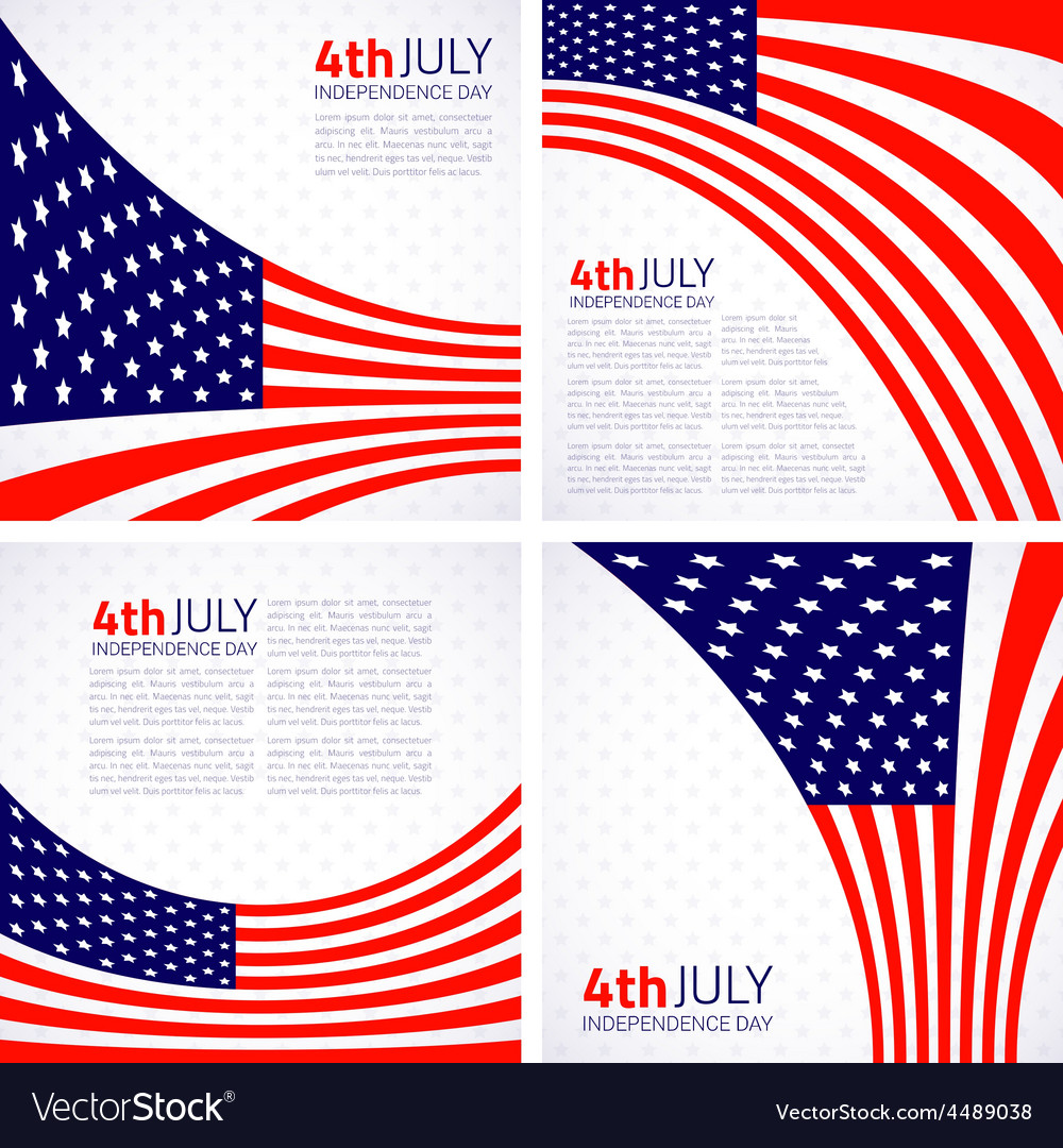 Set of Stylish American Independence day design vector image