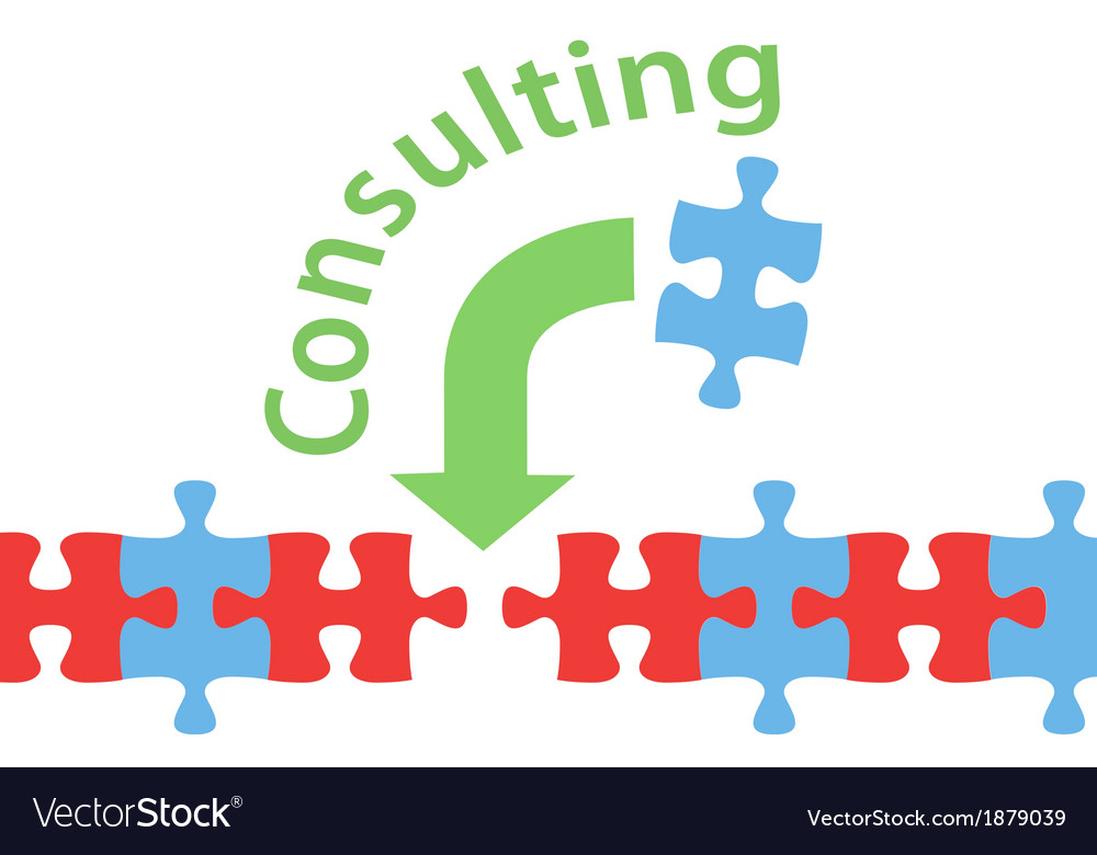 Consulting solution puzzle help answer Royalty Free Vector Image ...
