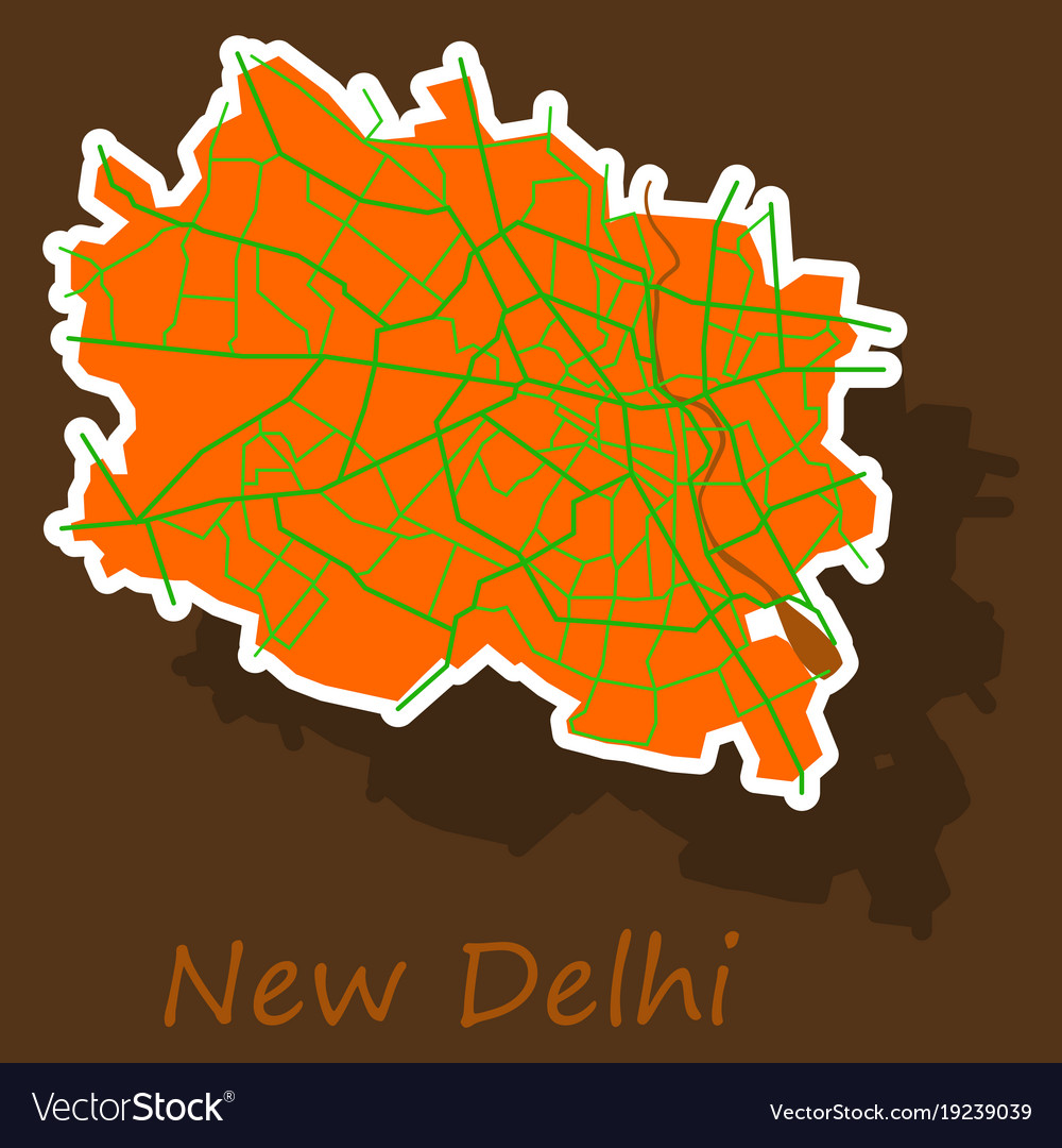 New delhi map sticker style design royalty free vector new delhi map sticker style design vector image gumiabroncs Images