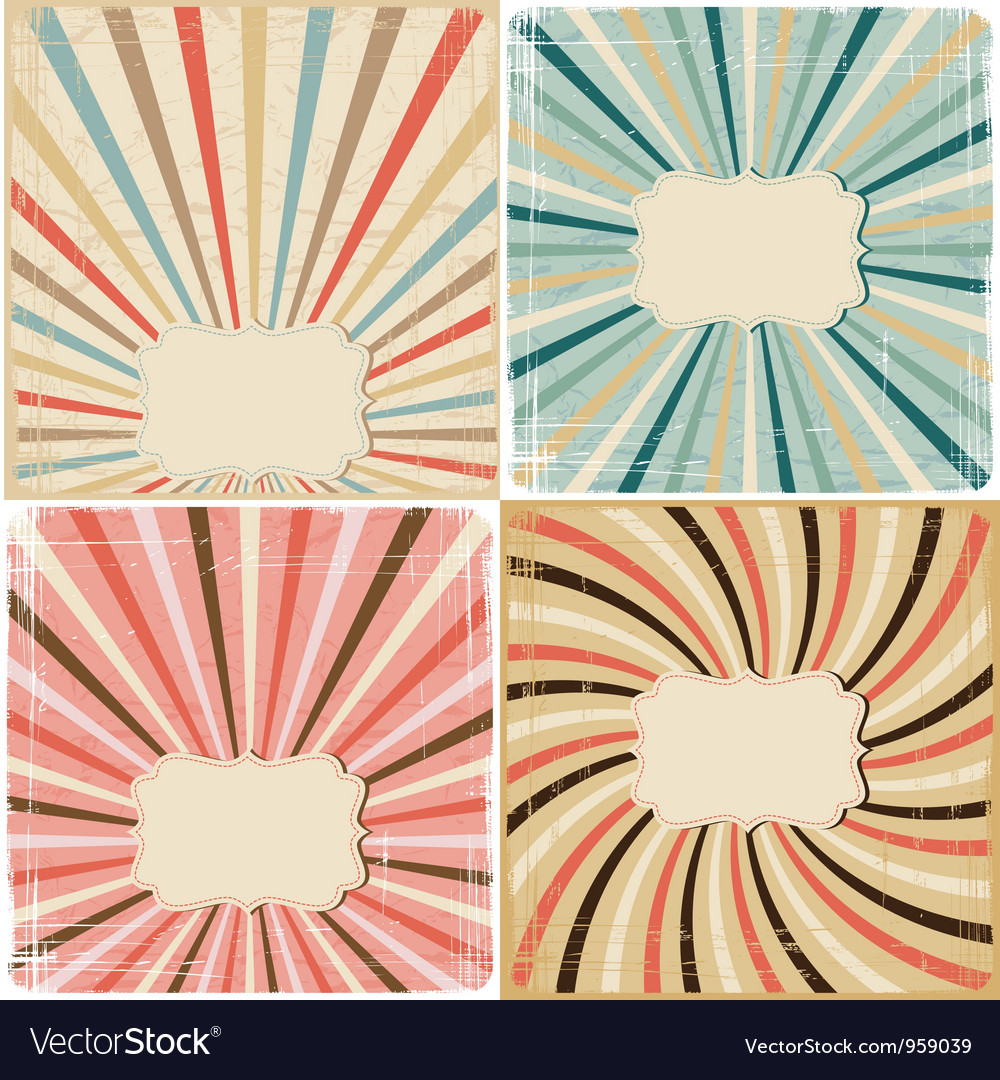 Set of 4 vintage lines background on paper texture vector image