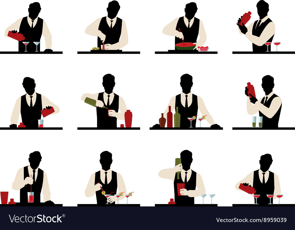 Set of silhouettes of a bartender vector image