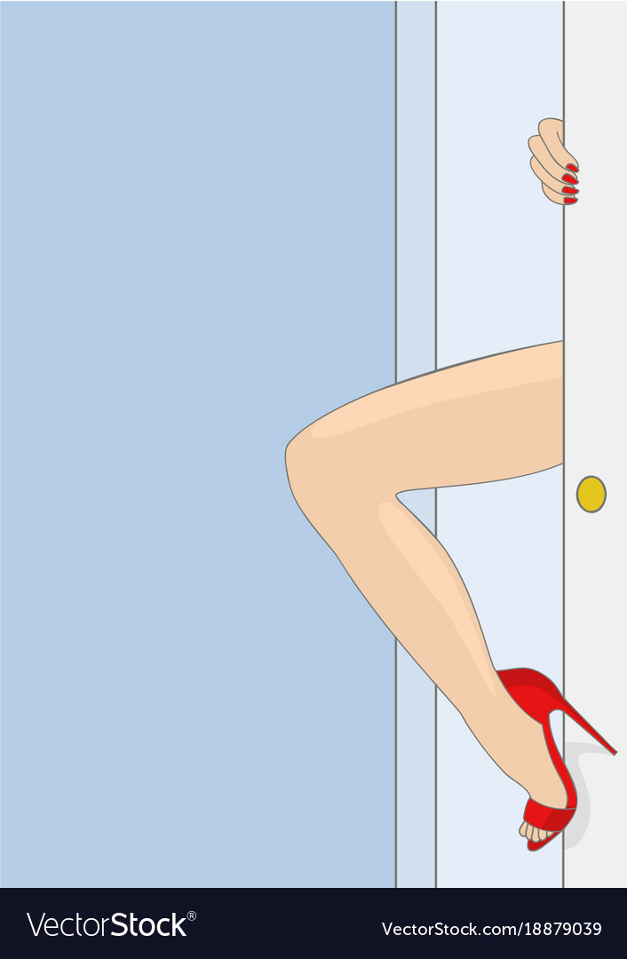 Womans leg appearing from door vector image