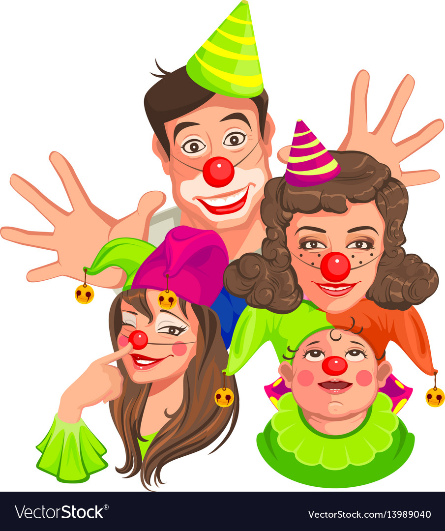 Family of clowns dad mom daughter son vector image