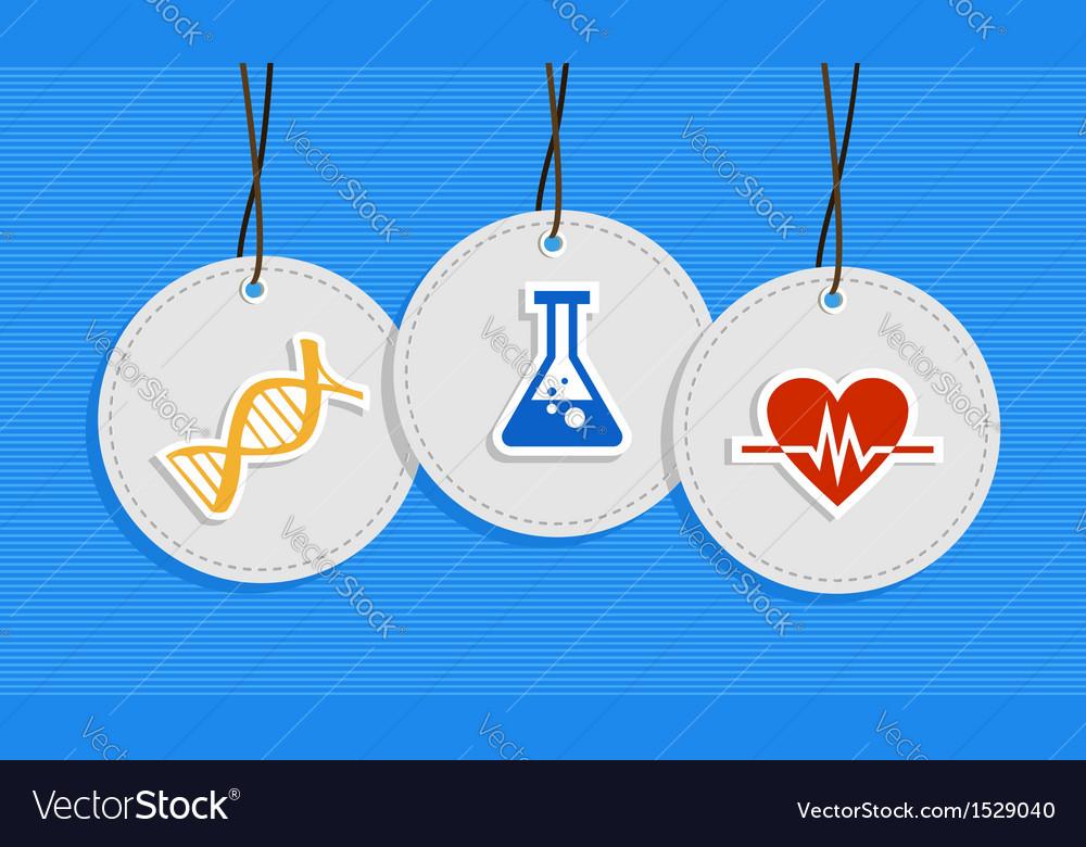 Hanging medical care badges vector image