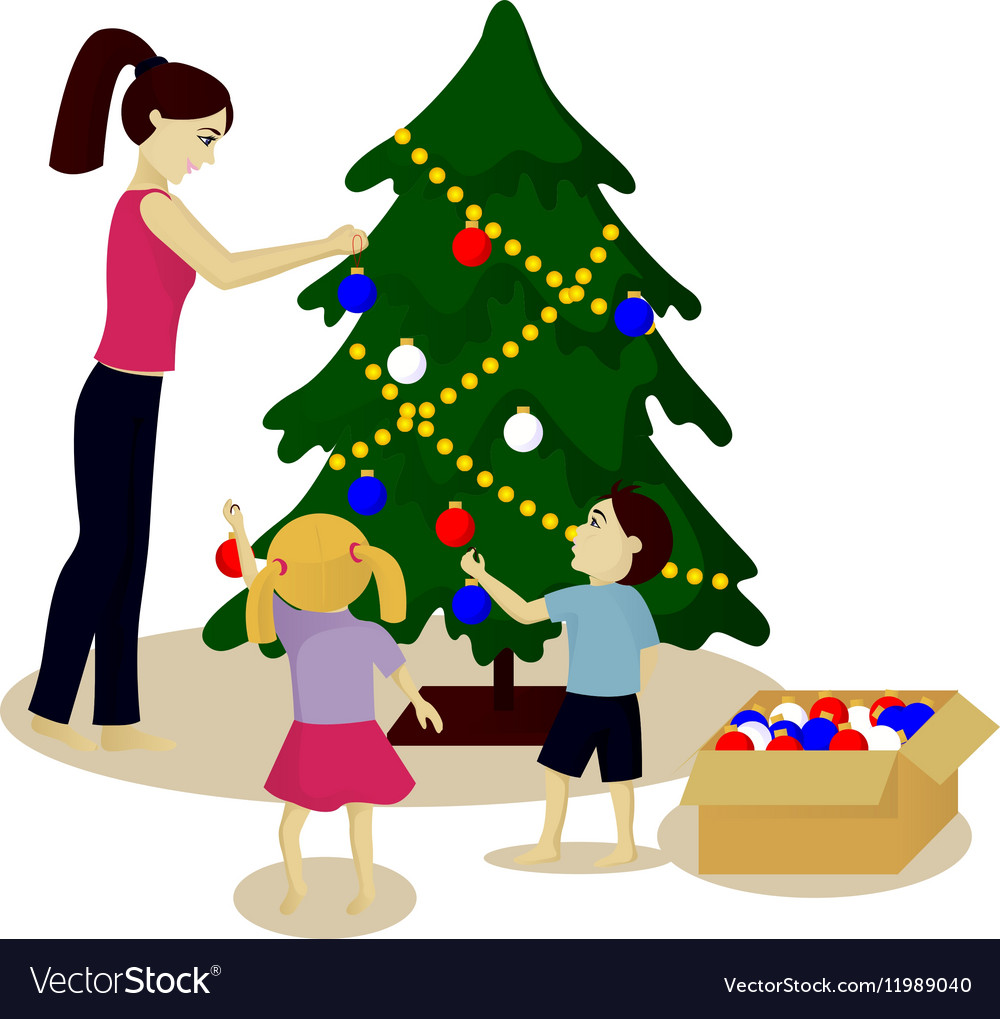 Mother and children decorate Christmas tree vector image