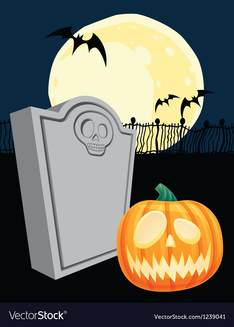 Halloween Tombstone and Jacko Lantern vector image