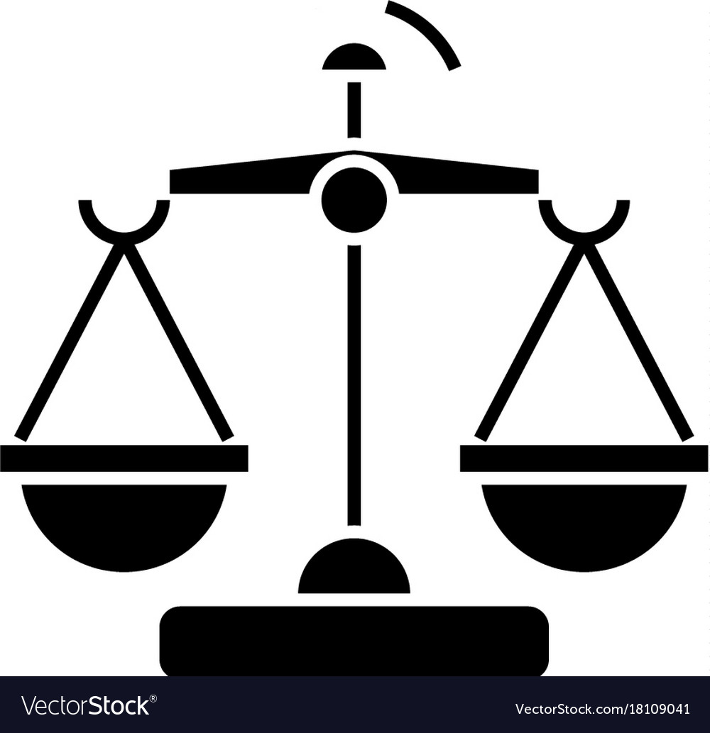 Law and justice - scales icon vector image
