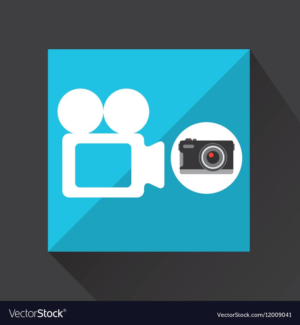 Retro camera photographic record video vector image