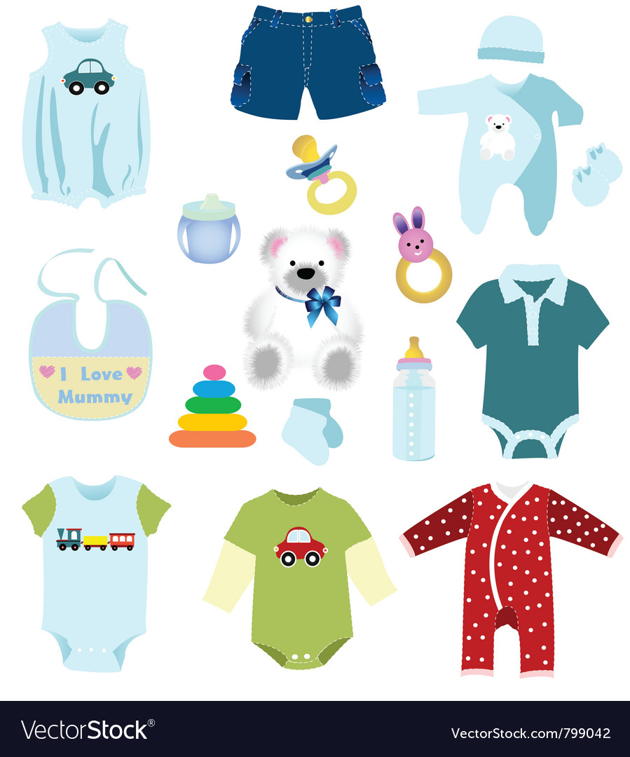 Baby boy elements clothes vector image